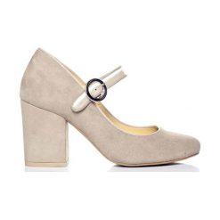Buty ślubne damskie: Skórzane czółenka w kolorze kremowym