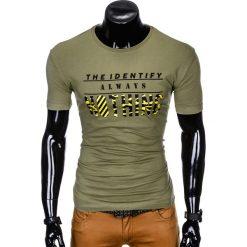T-SHIRT MĘSKI Z NADRUKIEM S988 - KHAKI. Brązowe t-shirty męskie z nadrukiem Ombre Clothing, m. Za 29,00 zł.