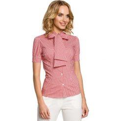 IZABELLA Koszula z kokardą i krótkim rękawem - czerwona. Czerwone koszule damskie w kratkę marki Moe, z elastanu, eleganckie, z kokardą, z krótkim rękawem. Za 109,99 zł.