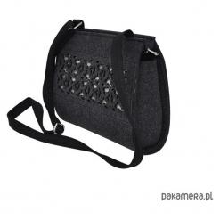 Torebka filcowa - grafitowy -beż ażur. Szare torebki klasyczne damskie marki Pakamera, w ażurowe wzory, małe. Za 95,00 zł.