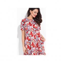 Phlox - czerwona sukienka pikowana w kwiaty. Czerwone sukienki na komunię marki Cocoviu, do pracy, l, biznesowe, trapezowe. Za 98,00 zł.