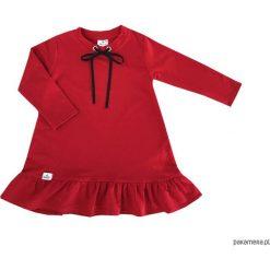 BUGZY Czerwona sukienka z czarną kokardką. Czarne sukienki dziewczęce marki Pakamera, eleganckie, z długim rękawem, długie. Za 84,00 zł.