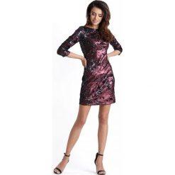 Bordowa Mini Sukienka Bodycon w Stylu Glamour. Czerwone sukienki balowe marki Molly.pl, na imprezę, l, z tkaniny, z dekoltem na plecach, mini, bodycon. Za 249,90 zł.