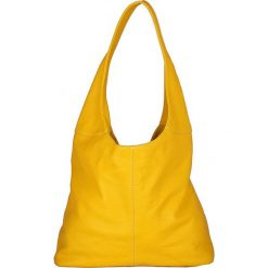 Torebki klasyczne damskie: Skórzana torebka w kolorze żółtym – 34 x 55 x 16 cm