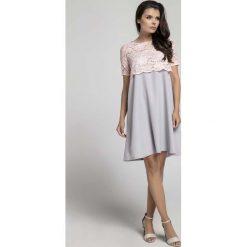 Sukienki: Szara Wizytowa Sukienka Trapezowa z Koronkową Nakładką
