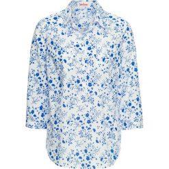 Tunika z nadrukiem, rękawy 3/4 bonprix biało-lazurowy niebieski. Białe tuniki damskie z nadrukiem bonprix. Za 24,99 zł.