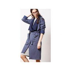 Granatowy Płaszcz z Dzianiny Dresowej CADO. Niebieskie płaszcze damskie CADOaccessories, na jesień, l, z bawełny. Za 119,00 zł.
