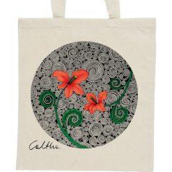 Shopper bag damskie: Czerwone kwiaty – torba – 2 kolory