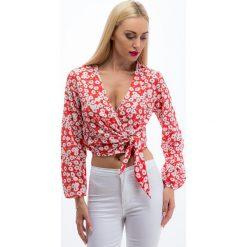 Czerwona krótka bluzka w kwiaty 20188. Czerwone bralety Fasardi, l, w kwiaty, z krótkim rękawem. Za 43,20 zł.