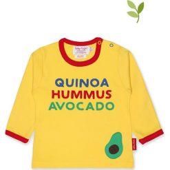 Koszulka w kolorze żółtym. Żółte bluzki dziewczęce bawełniane Toby Tiger, z aplikacjami, z okrągłym kołnierzem, z długim rękawem. W wyprzedaży za 85,95 zł.