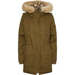 Płaszcz parka z kapturem, półdługi. Szare płaszcze damskie z futerkiem marki bonprix. Za 499,80 zł.