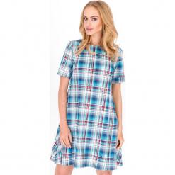 Sukienka w Kratę z Krótkim Rękawem Wzór 4. Niebieskie sukienki letnie marki Molly.pl, s, w kratkę, z krótkim rękawem, mini. Za 88,90 zł.