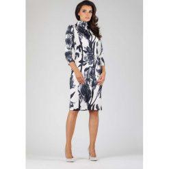 Elegancka Dopasowana Kwiatowa Sukienka z Golfem. Szare długie sukienki marki Molly.pl, do pracy, l, biznesowe, z golfem, z długim rękawem, dopasowane. W wyprzedaży za 129,18 zł.