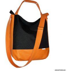 Shopper bag damskie: 5603 ankate, duża czarna torba, czarny worek