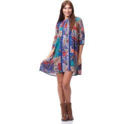 Sukienki: Sukienka w kolorze niebiesko-jasnoszaro-czerwonym