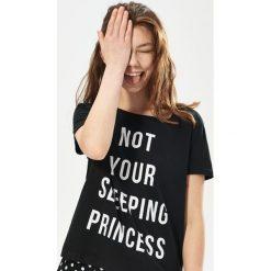 Bielizna nocna: Dwuczęściowa piżama z napisem - Czarny