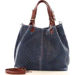 Kuferki damskie: Skórzana torebka shopper MAZZINI – LINDA granatowa