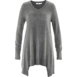 Swetry klasyczne damskie: Sweter z dłuższymi bokami, długi rękaw bonprix antracytowy melanż