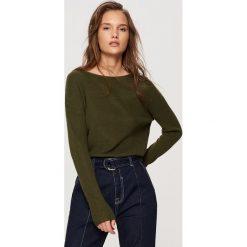 Swetry klasyczne damskie: Sweter z lekkiej dzianiny - Khaki
