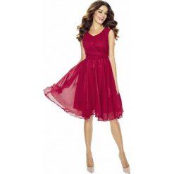 Bordowa Sukienka Koktajlowa z Szyfonu. Czerwone sukienki balowe marki Molly.pl, na imprezę, l, z satyny, na ramiączkach, dopasowane. Za 198,90 zł.