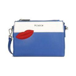 Torebki klasyczne damskie: Skórzana torebka w kolorze niebiesko-białym – (S)23 x (W)16,5 x (G)6 cm