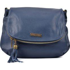 Torebki klasyczne damskie: Skórzana torebka w kolorze granatowym – 26 x 30 x 6 cm