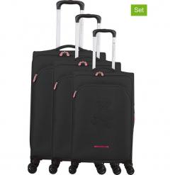 """Walizki (3 szt.) """"Teddy Bear"""" w kolorze czarnym. Czarne walizki marki Jack Wolfskin, w paski, z materiału, małe. W wyprzedaży za 673,95 zł."""