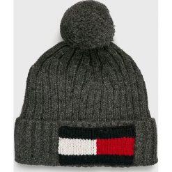 Tommy Hilfiger - Czapka. Czarne czapki zimowe męskie TOMMY HILFIGER, na zimę, z bawełny. Za 229,90 zł.