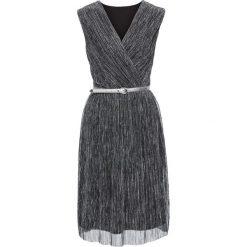 Sukienki: Sukienka z lureksową nitką i efektem założenia kopertowego bonprix czarno-srebrny