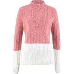 Sweter ze stójką bonprix dymny jasnoróżowy - biel wełny. Czerwone swetry klasyczne damskie bonprix, z wełny, ze stójką. Za 74,99 zł.