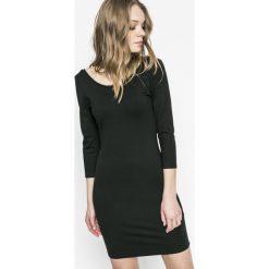 Answear - Sukienka Sporty Fusion. Czarne sukienki dzianinowe ANSWEAR, na co dzień, l, casualowe, z okrągłym kołnierzem, mini, dopasowane. W wyprzedaży za 69,90 zł.