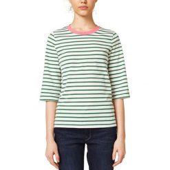 Koszulka z okrągłym dekoltem w paski, z rękawem 3/4. Szare bluzki z odkrytymi ramionami marki La Redoute Collections, m, z bawełny, z kapturem. Za 125,96 zł.