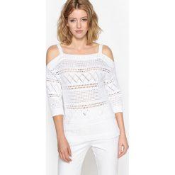 Fantazyjny sweter, bawełna 100%. Czarne kardigany damskie Anne weyburn, w ażurowe wzory, z bawełny. Za 205,76 zł.