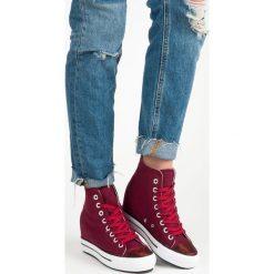 Buty ślubne damskie: Wysokie trampki na koturnie TAWNY