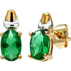 Kolczyki damskie: Złote kolczyki-wkrętki ze szmaragdami