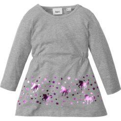 Sukienki dziewczęce: Sukienka dżersejowa bonprix jasnoszary melanż – jasnoróżowy z nadrukiem