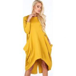 Sukienki: Sukienka asymetryczna musztardowa 0203