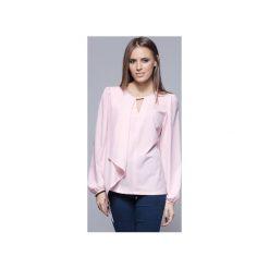 Zwiewna bluzka z asymetrycznym przodem różowa  H017. Szare bluzki asymetryczne marki Harmony, xl, biznesowe, z asymetrycznym kołnierzem, z długim rękawem. Za 134,00 zł.