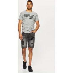 Bermudy męskie: Jeansowe szorty z przetarciami - Szary