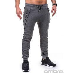 SPODNIE MĘSKIE DRESOWE P421 - GRAFITOWE. Szare spodnie dresowe męskie Ombre Clothing, z bawełny. Za 59,00 zł.