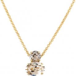 Pozłacany naszyjnik z kryształkami Swarovski - dł. 45 cm. Białe naszyjniki damskie marki Sinsay. W wyprzedaży za 77,95 zł.