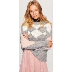 Swetry klasyczne damskie: Sweter z geometrycznym wzorem - Jasny szar
