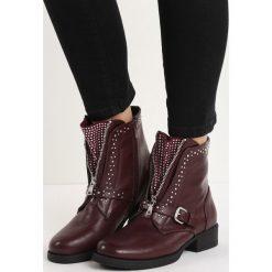Bordowe Botki Roll and Rock. Czerwone buty zimowe damskie Born2be, na płaskiej podeszwie. Za 109,99 zł.