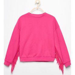 Bluzy dziewczęce rozpinane: Bluza z frędzlami na rękawach - Różowy