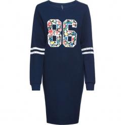 Sukienka dresowa bonprix ciemnoniebieski melanż z nadrukiem. Szare sukienki dresowe marki bonprix, melanż, z kapturem, z długim rękawem, maxi. Za 109,99 zł.