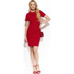 Czerwona Klasyczna Dopasowana  Sukienka z Kołnierzykiem. Czerwone sukienki balowe marki Molly.pl, l, z jeansu, z dekoltem na plecach, z długim rękawem. Za 128,90 zł.