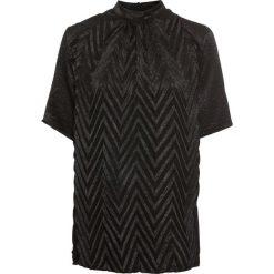 Bluzka shirtowa w strukturalny wzór bonprix czarny. Niebieskie bluzki damskie marki ARTENGO, z elastanu, ze stójką. Za 119,99 zł.