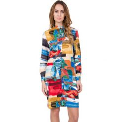 Sukienki hiszpanki: Kolorowa sukienka z długim rękawem zapinana na guziki  BIALCON