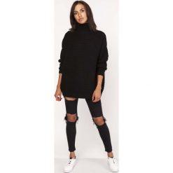 Czarny Ciepły Oversizowy Sweter z Golfem. Czarne golfy damskie Molly.pl, na zimę, uniwersalny, z jeansu. Za 165,90 zł.