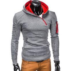 BLUZA MĘSKA Z KAPTUREM B745 - SZARA. Szare bluzy męskie rozpinane marki Ombre Clothing, m, z bawełny, z kapturem. Za 69,00 zł.